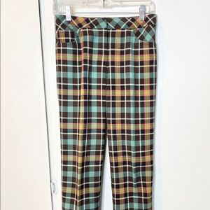 Trina Turk Plaid Trouser Pants Brown Green 2